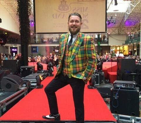 mike keat wears a cad and the dandy tartan jacket and waistcoat
