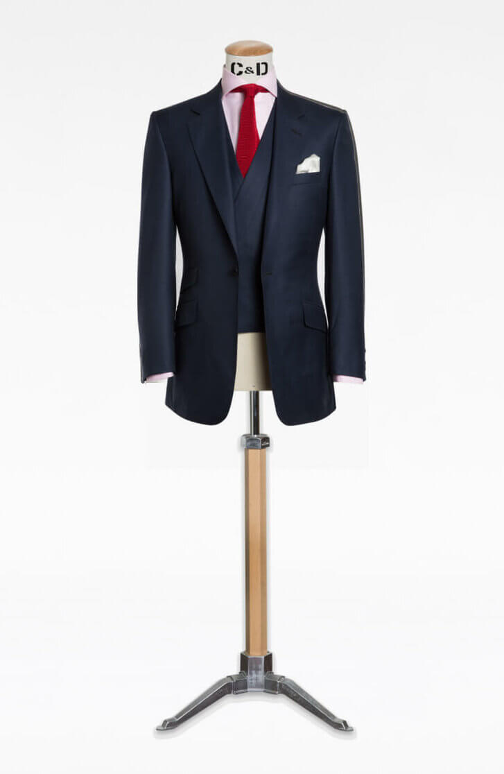 cad and the dandy three piece navy blue suit