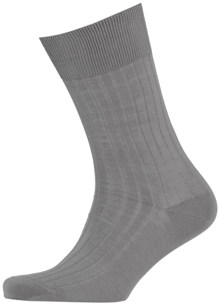 Cad & The Dandy Cotton Ribbed Elephant Grey Socks