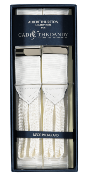 Cad & The Dandy Albert Thurston White Moire Braces