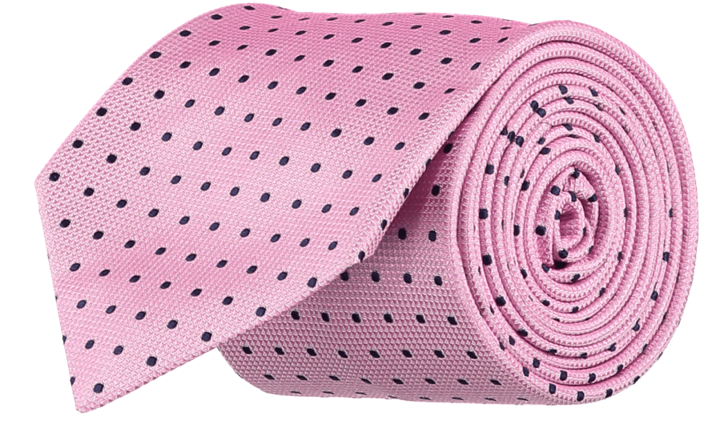 Cad & The Dandy Silk Pink and Navy Spotted Tie