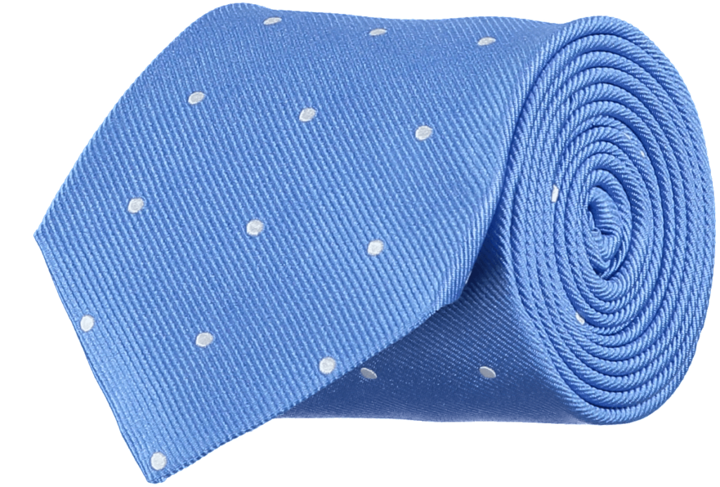 Cad & The Dandy Silk Repp Blue and White Spotted Tie