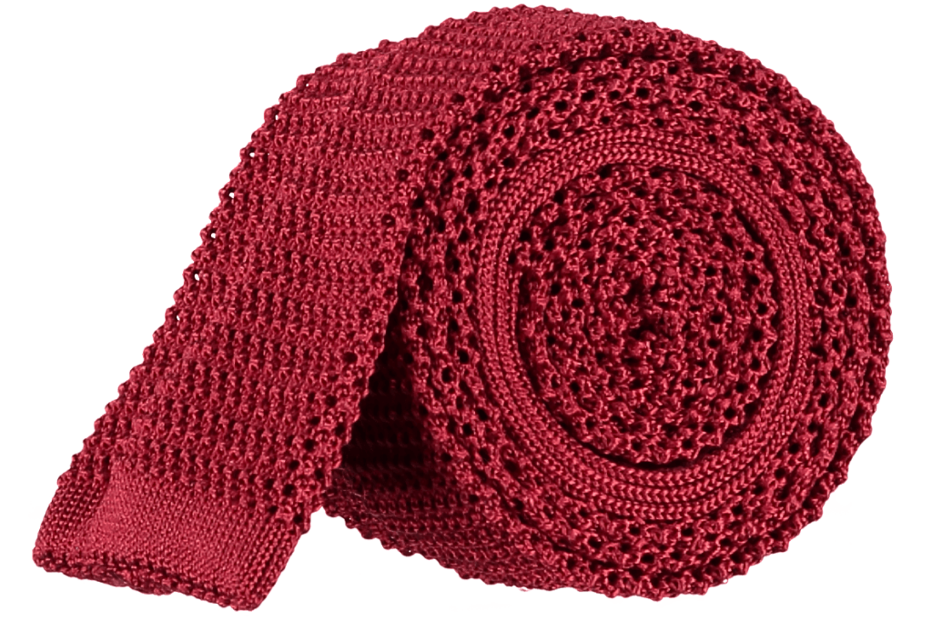 Cad & The Dandy Unlined Knitted Tie in Bright Red