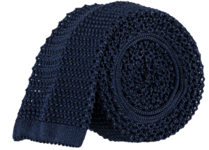 Cad & The Dandy Unlined Knitted Tie in Navy