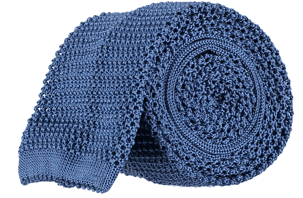 Cad & The Dandy Unlined Knitted Tie in Sky Blue