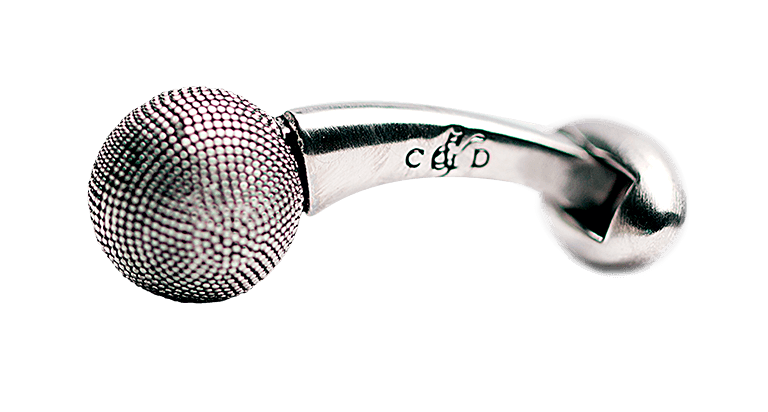 cufflink-silver-textured-ball-side