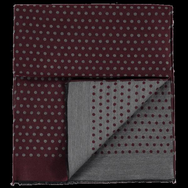 wool-scarf-spotted-grey-burgundy-detail