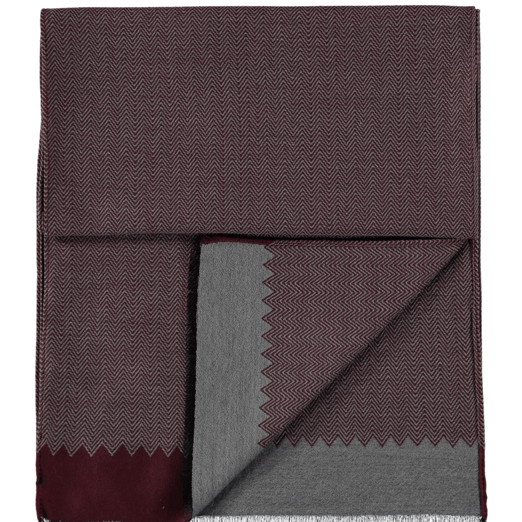 wool-scarf-herringbone-grey-burgundy