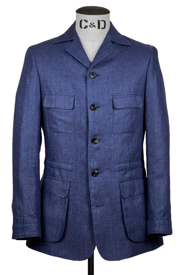 Blue Linen Heringbone Safari Jacket Front