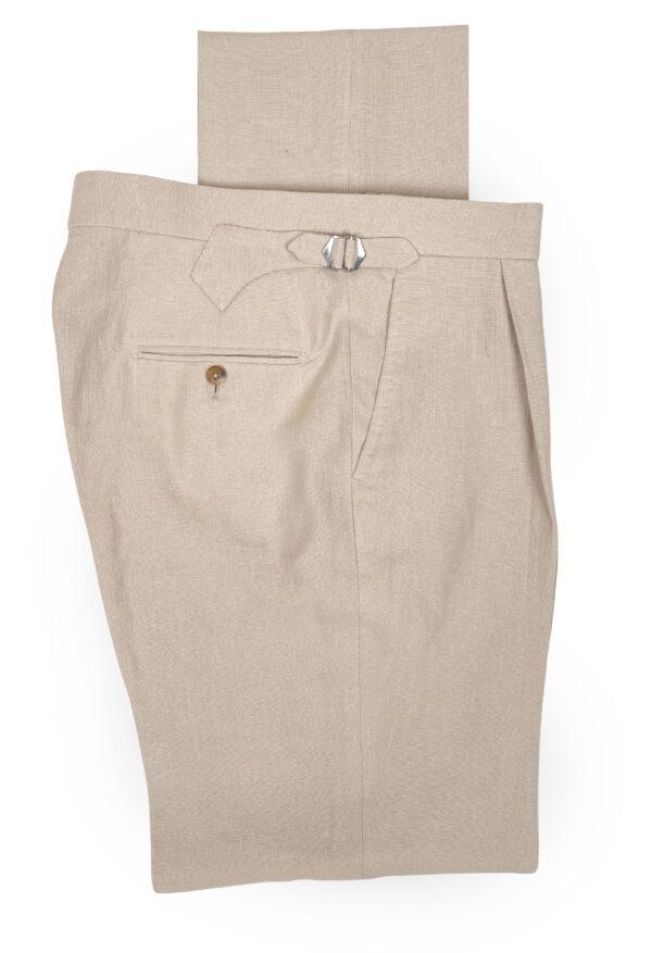 Pleated Ecru Linen Trousers