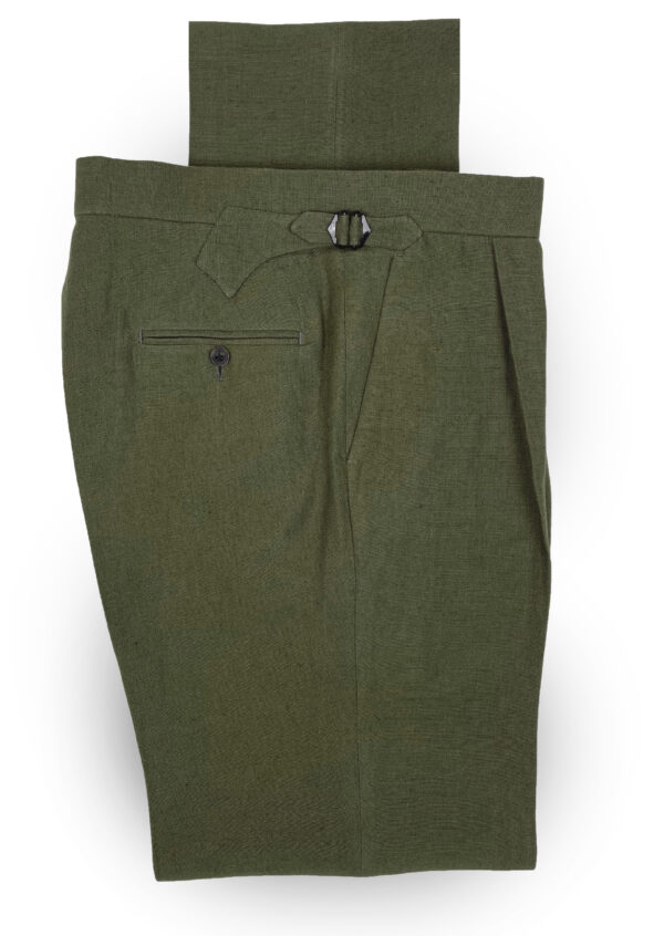 Pleated Khaki Linen Trousers