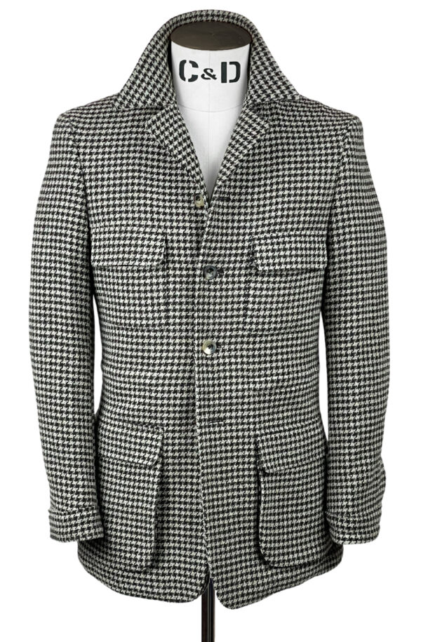 Cream Houndstooth Wool Mix Safari Jacket