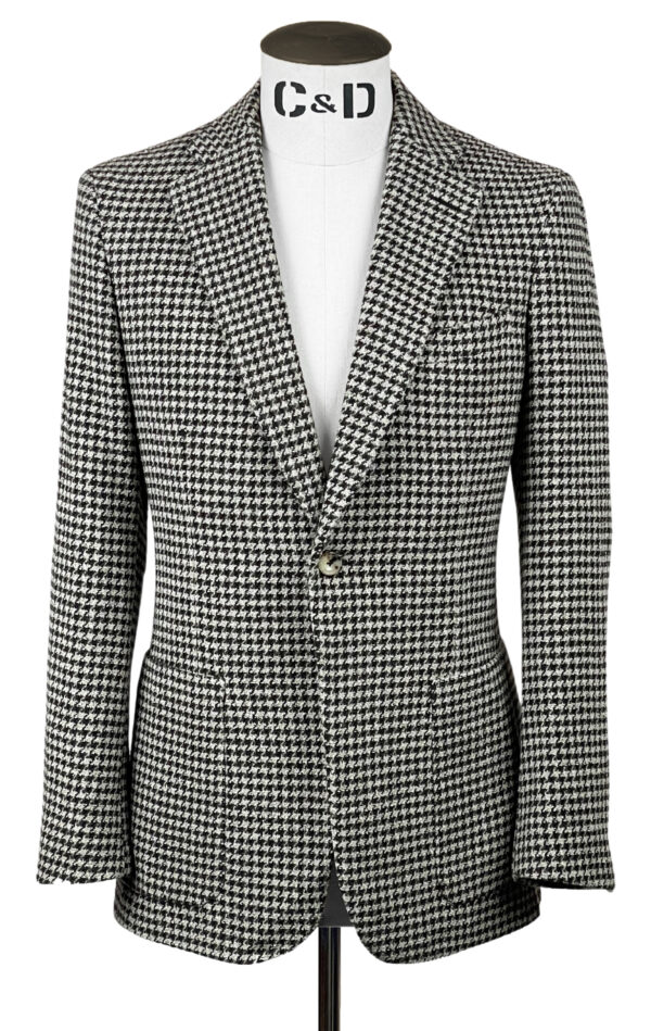 Cream Houndstooth Wool Mix Jacket